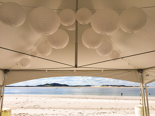 White paper lanterns decoration, wedding, Gloucester, MA
