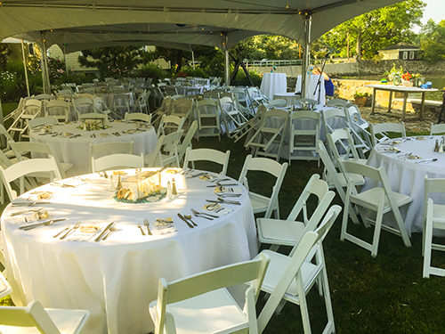 Garden party tent rental, Marblehead