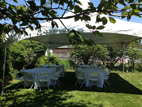 Tent, chair and table rental for Graduation Party in Lynn-Swampscott MA.
