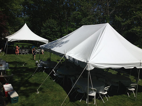 Tent, chair and table rental for Graduation Party in Marblehead, MA.